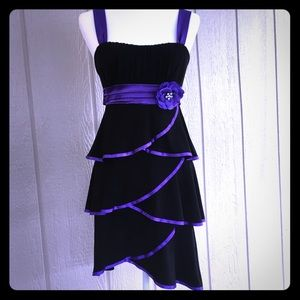 DEB Gorgeous Little Black Dress w/Purple Ruffles